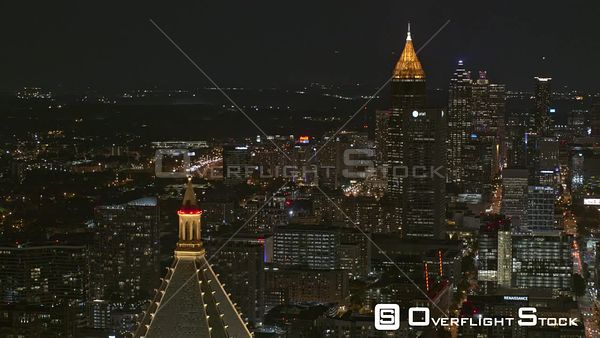 Atlanta Panning nighttime downtown from midtown vantage