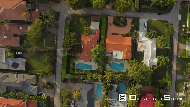 Miami Florida Luxury Homes Flying over Hibiscus Island looking down vertically.