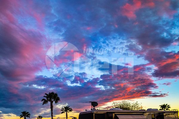 Dramatic vibrant sunset scenery in Harlingen Tropical Winds, Texas