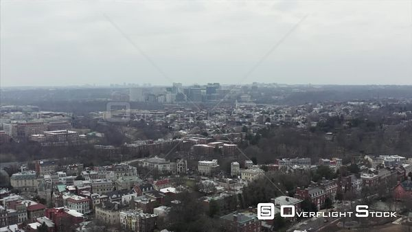 Dreary Winter Day Drone Aerial View of Rosslyn Washington DC Skyline