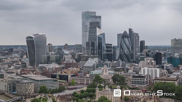 Financial District Cityscape London England Drone Video