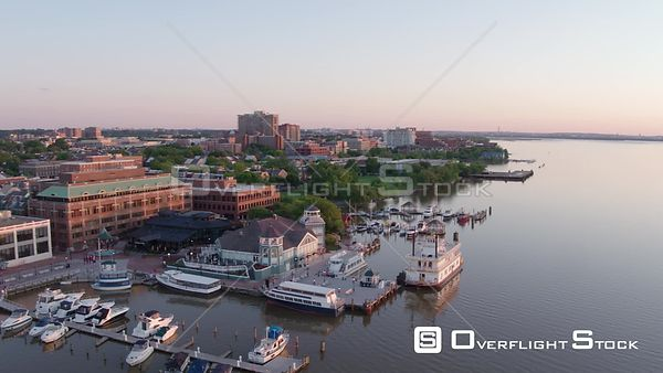 Aerial pan across Alexandria, VA from the Potomac River