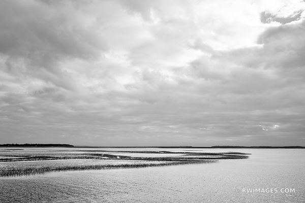 ST. MARY'S RIVER MARSHES CUMBERLAND ISLAND GEORGIA BLACK AND WHITE
