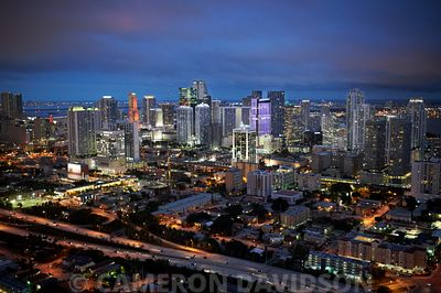 Downtown Miami Suburbs At dusk