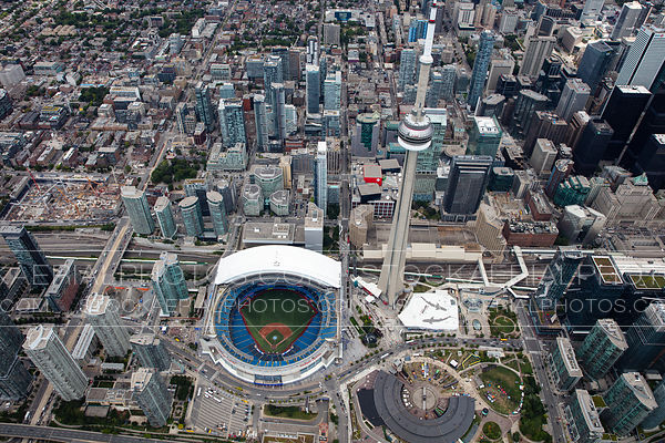 Rogers Centre and the CN Tower in Toronto's entertainment district