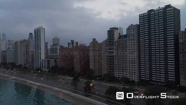 Drone Aerial View Downtown Chicago Illinois Lakeside Aerial