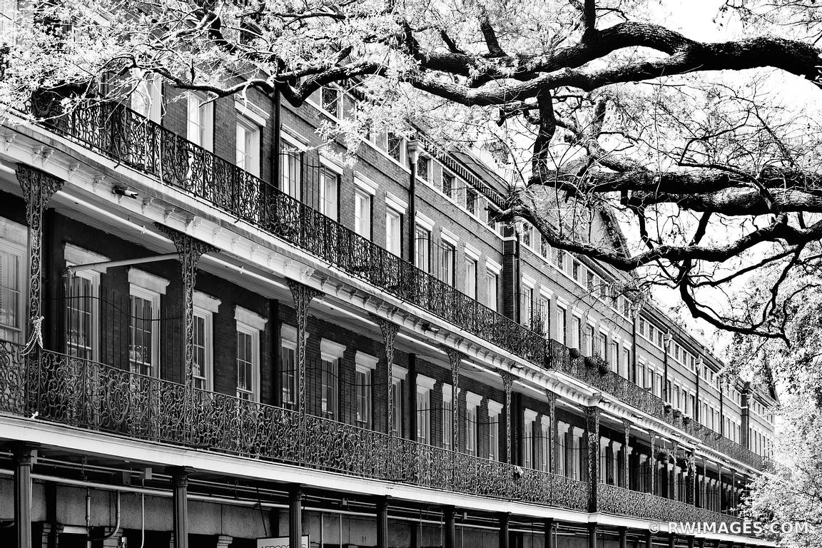 FRENCH QUARTER BALCONIES NEW ORLEANS ARCHITECTURE JACKSON SQUARE BLACK AND WHITE