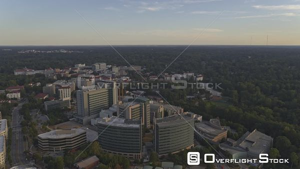 Atlanta Panning to birdseye view overtop CDC cityscape with construction