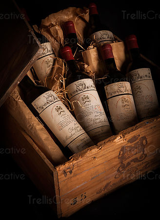 A case of rare French red wine, vintage Chateau Mouton Rothschild 1945