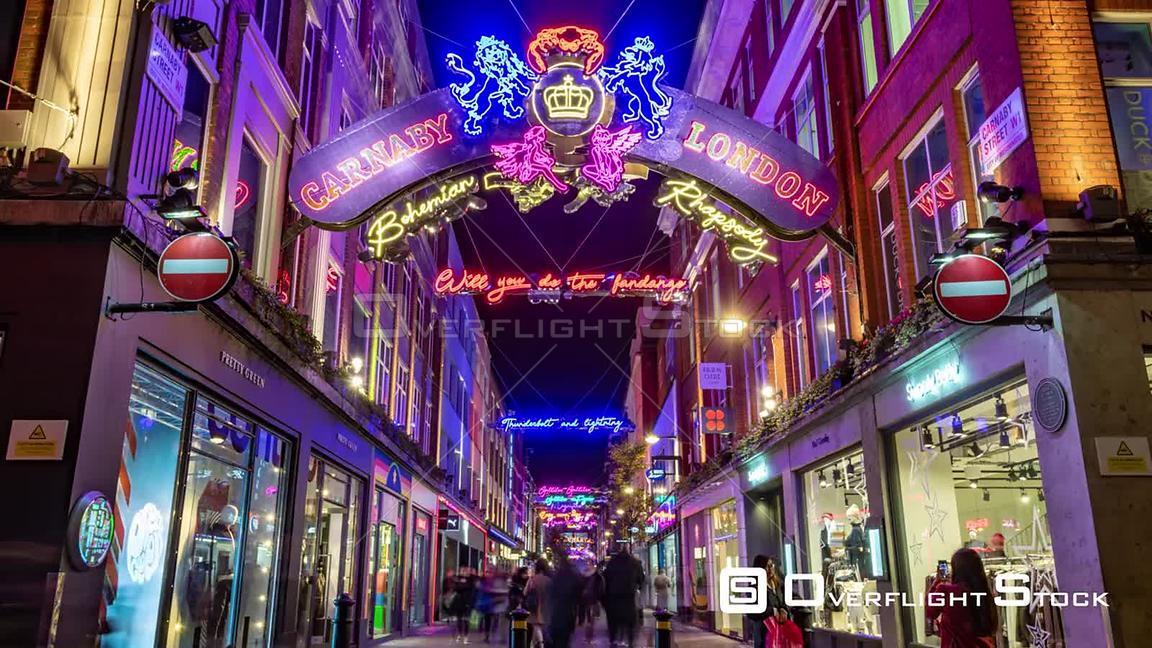 Timelapse view of Carnaby street in London with Christmas decorations at night