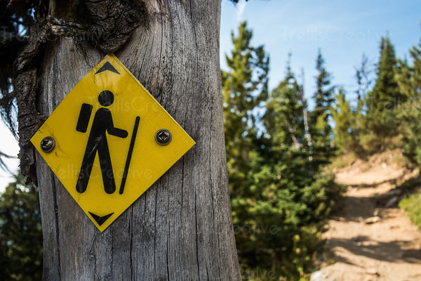 Trail marker on hiking trail, Blackcomb Mountain, Whistler, Canada.