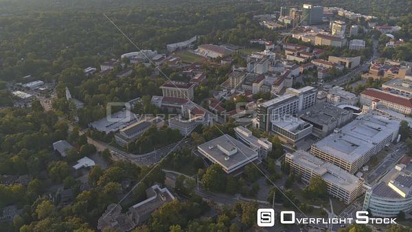 Atlanta Short, slow panning reverse birdseye looking at CDC and Emory University Hospital campus at sunset