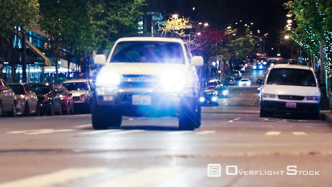 City traffic time lapse at night. Seattle Washington