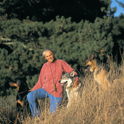 Color portrait of a woman with her pet wolf, German Shepherd, and Doberman pinscher on a grassy hillside