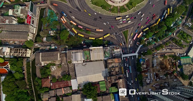 Thailand Bangkok Aerial Vertical detail of Victory Monument area traffic intersection