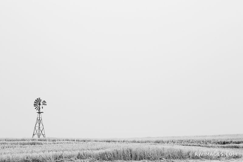 OLD FARM WINDMILL PALOUSE EASTERN WASHINGTON STATE BLACK AND WHITE