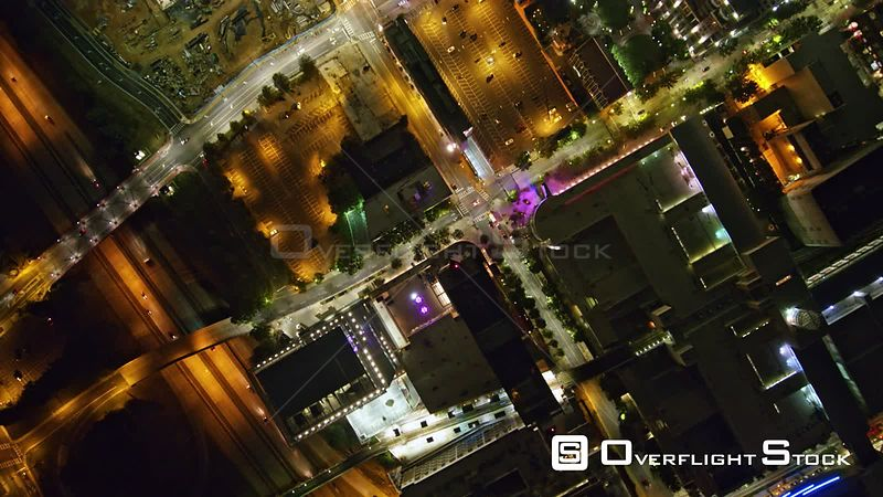 North Carolina Charlotte Aerial Vertical cityscape view flying slow through downtown at night