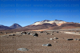 View north across Pampa Rio Blanco towards Putana (L) and Cerro Poderosa volcanos, Eduardo Avaroa Andean Fauna National Reser...