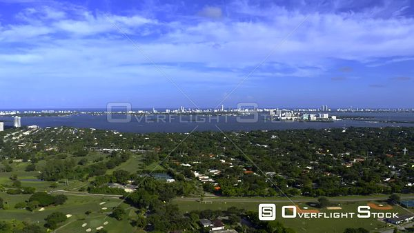 Beautiful Blue Sky Over Miami Shores Neighborhood Aerial Drone Video