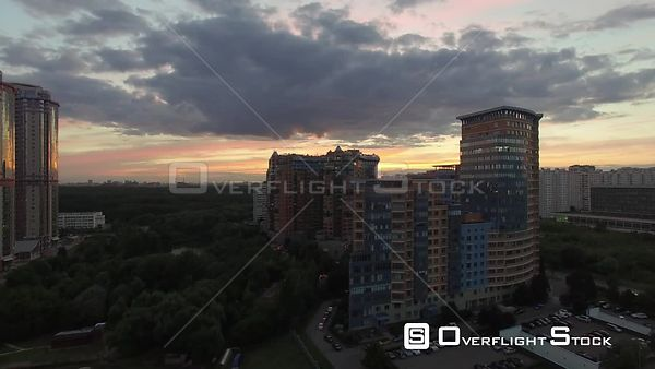Urban Cityscape Flight During the Sunset. Moscow Russia Drone Video View