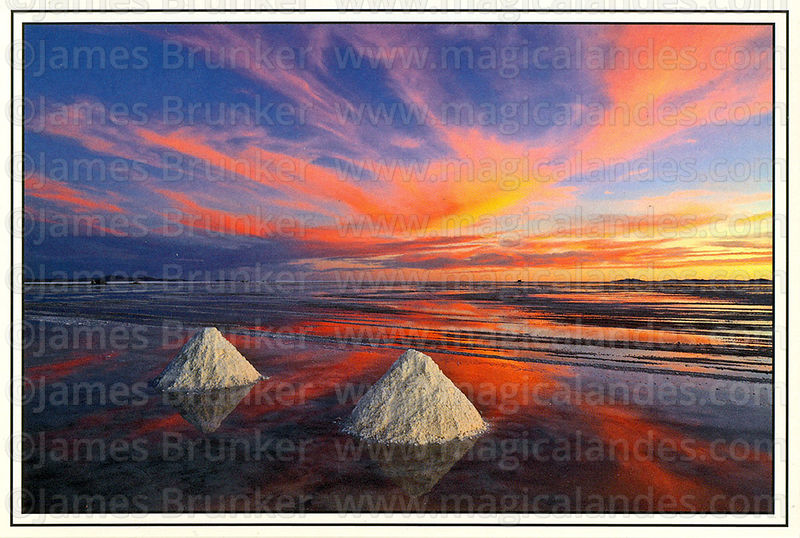 #317 Sunset and salt cones in rainy season, Salar de Uyuni