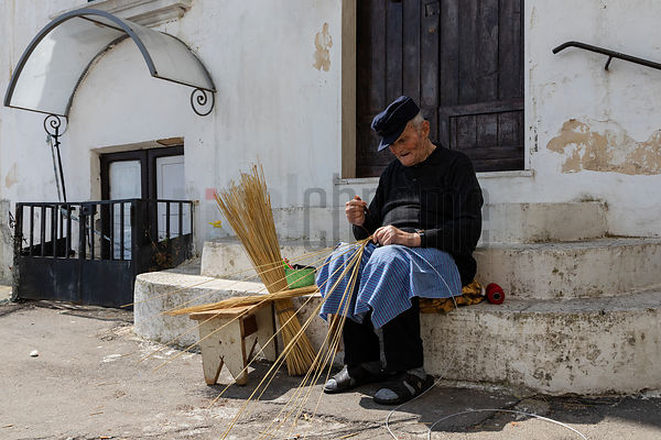 Portrait of Raffaele Bianco (84) Weaving a Traditional Basket