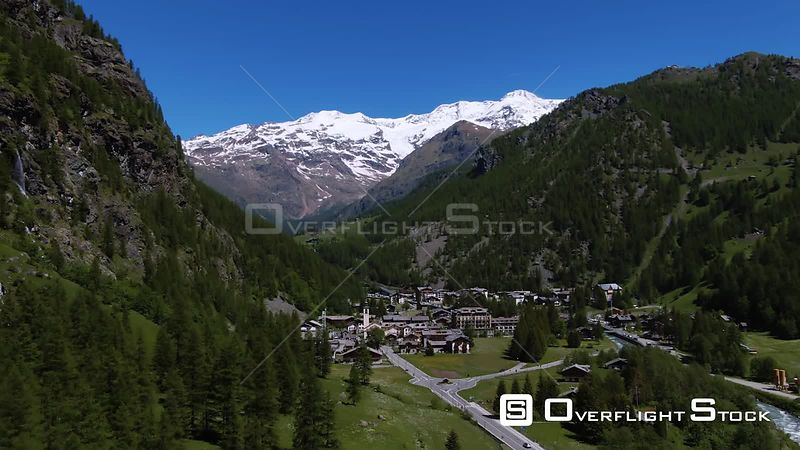 the sky resort village of Gressoney la Trinite in the Italian Alps, with Mount Rosa in the background