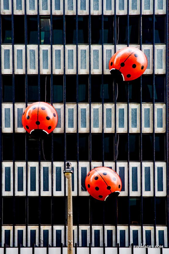 RED LADYBUGS PUBLIC ART DOWNTOWN MILWAUKEE WISCONSIN