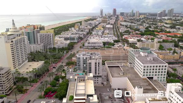 Aerial orbit over hotel buildings Miami Beach FL