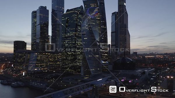 Dusk Landing With MBCC With City Lights. Moscow Russia Drone Video View