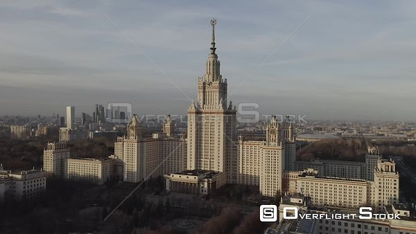 Sunset Sideway Flight Moscow State University With MBCC Reveal. Moscow Russia Drone Video View