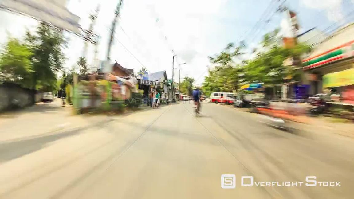 Driving time lapse through farm land and the city of Bangkok, Thailand
