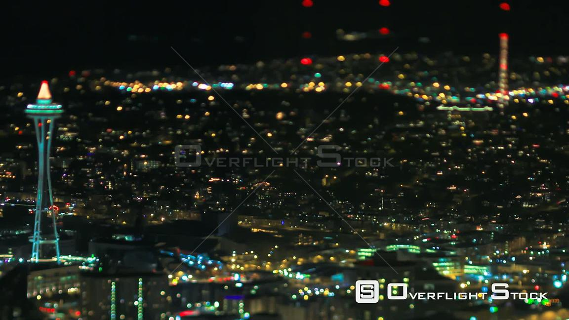 Seattle Washington State USA TIme lapse shot of Seattle city traffic at night using a tilt shift lens with a horizontal cente...