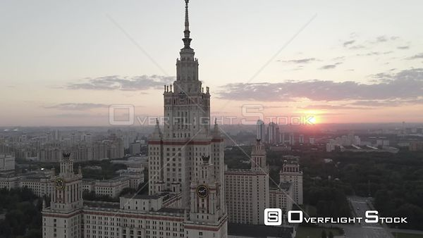 Sunset Circle Flight of the Moscow State University . Moscow Russia Drone Video View