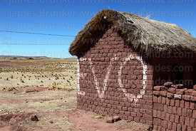 EVO painted on wall of adobe house, Tiwanaku, La Paz Department, Bolivia