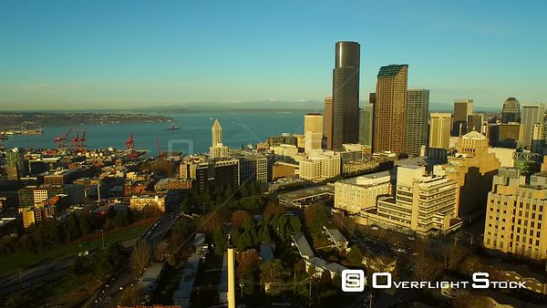 Seattle Washington State USA Flying low over Atlantic area and downtown then panning right with cityscape views