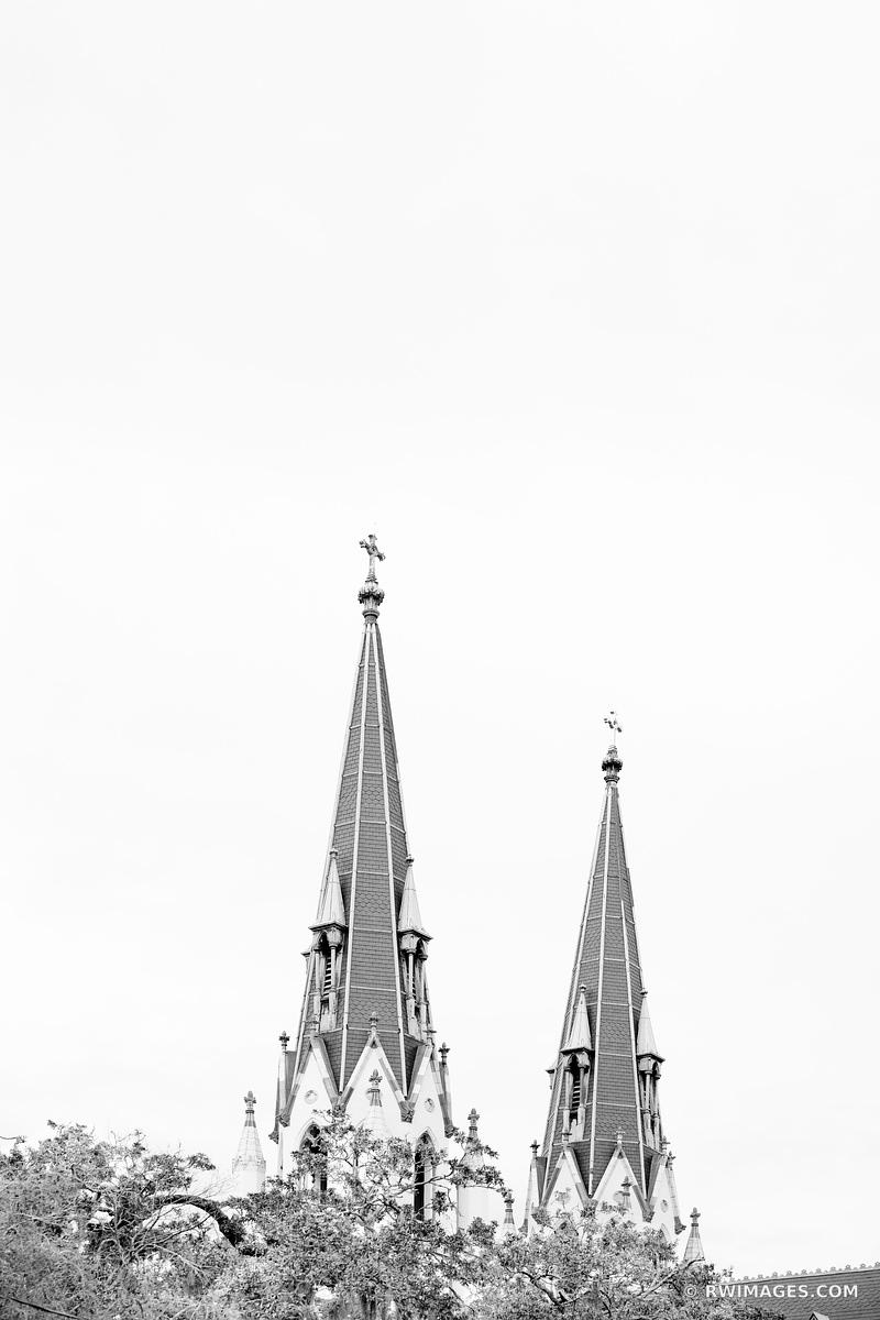 CATHEDRAL OF ST. JOHN THE BAPTIST SAVANNAH GEORGIA BLACK AND WHITE VERTICAL