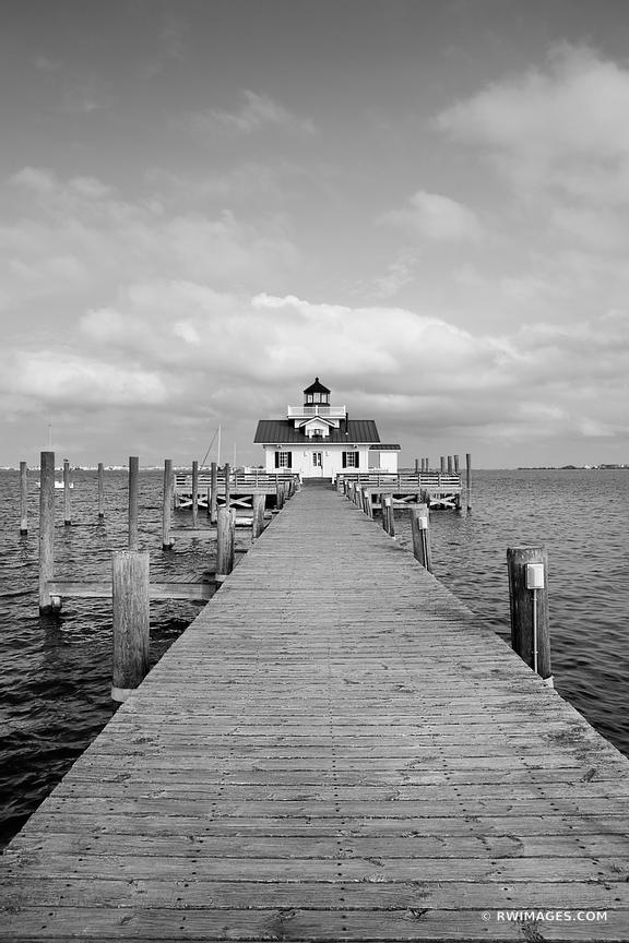 ROANOKE MARSHES LIGHTHOUSE MANTEO OUTER BANKS NORTH CAROLINA BLACK AND WHITE VERTICAL