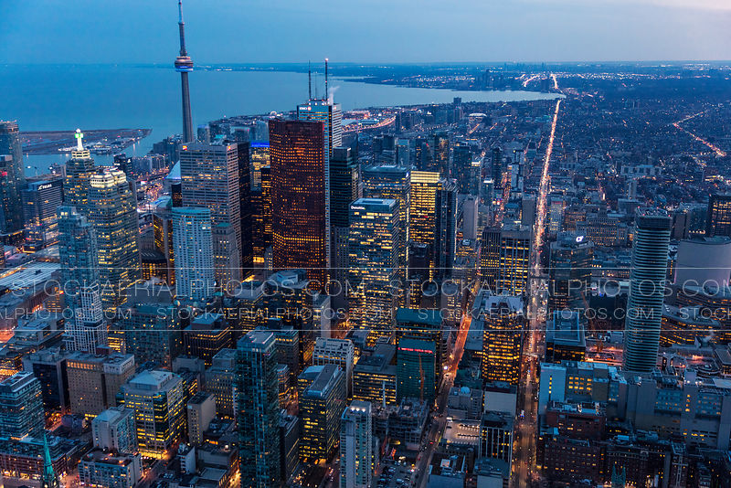 Aerial photo of downtown Toronto at dusk