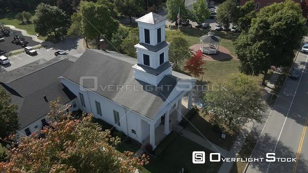 Church in Village of Honeoye Falls New York Drone View
