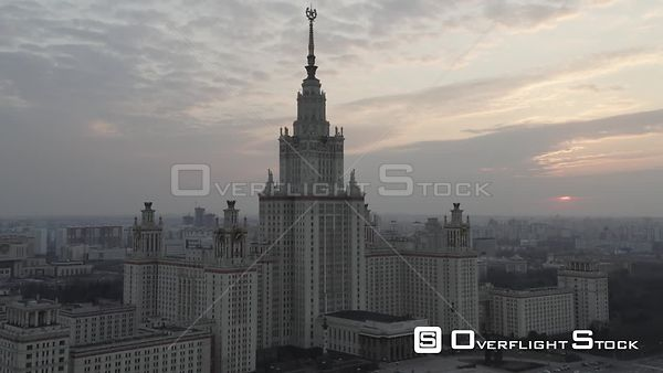 Sunset Moscow State University High Approach. Moscow Russia Drone Video View