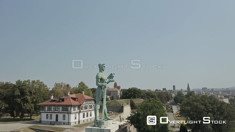 Drone Video The Victor Belgrade Fortess Serbia