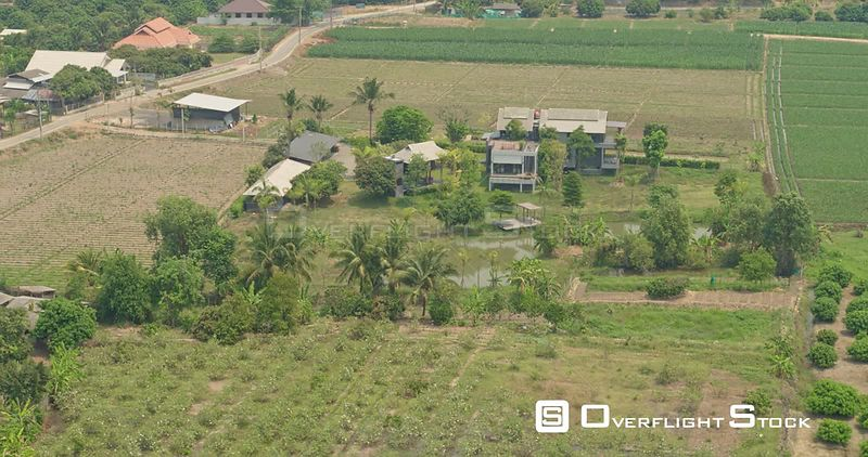 Thung Pi Thailand Aerial Panning closeup birdseye of rural homes