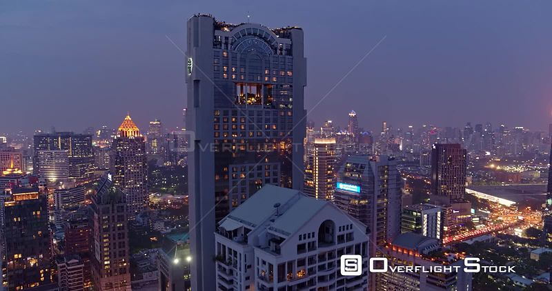 Thailand Bangkok Aerial High birdseye to vertical close up view of rooftop restaurant and bar