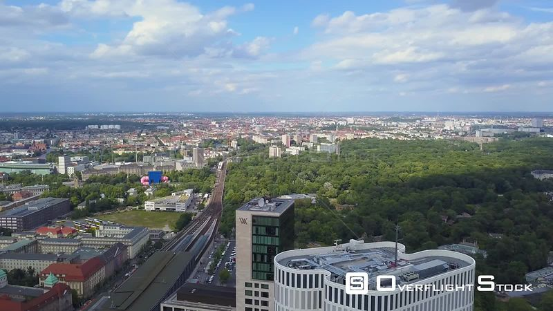 Germany Berlin Aerial Flying around tall buildings in Charlottenburg area