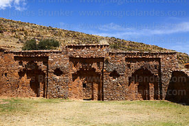 Large niches in west wall of Inca temple of Iñak Uyu, Moon Island, Lake Titicaca, Bolivia