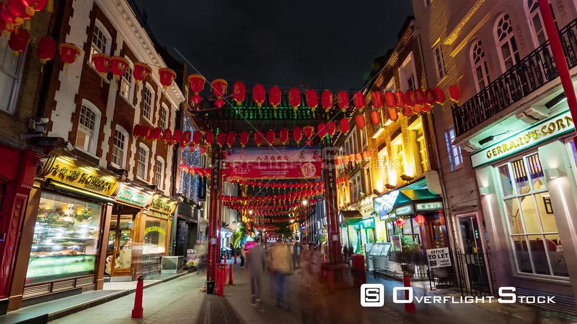 Time lapse view of Chinatown in London with street decorations at night