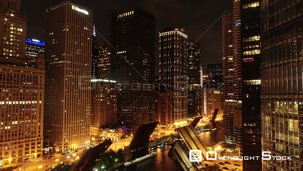 Nighttime Chicago Illinois Drone Aerial View