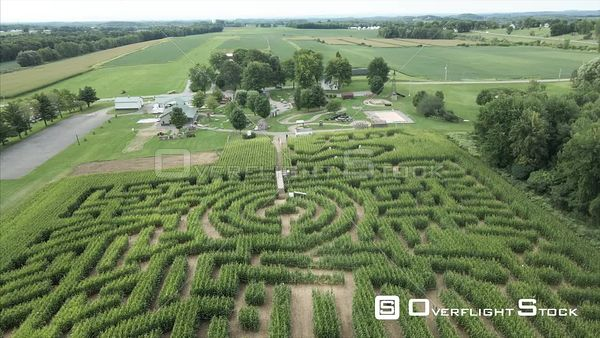 Corn Maze Rural Farming Drone View Macedon Upstate New York