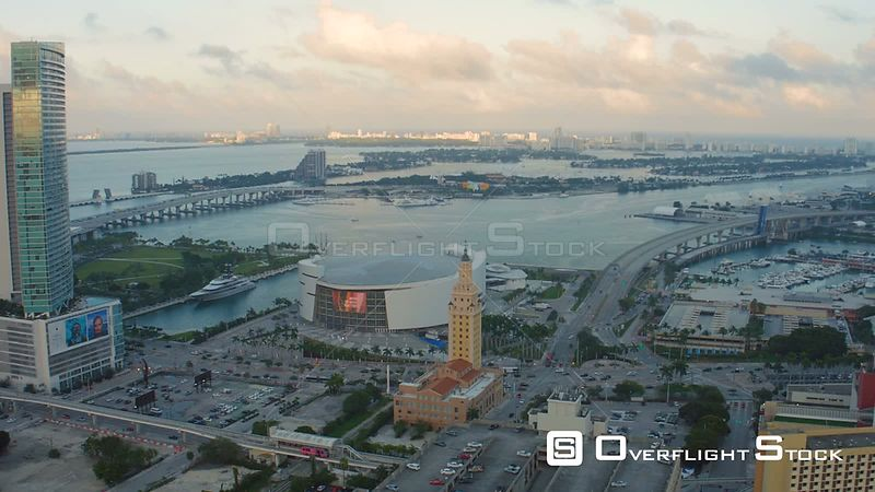 Miami Florida Flying over downtown and arena panning down.